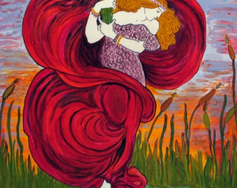 Tile. Handpainted terracotta with woman image, reworking of an advertising Art Nouveau poster. Present for sunset lover.