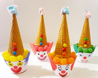 Circus Clown Instant Download Printable Party Cupcake Wrappers