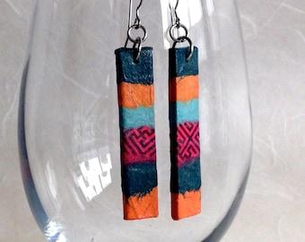 Orange Green Hanji Paper Earrings OOAK Patchwork Coral Red Grey Dark Green Boho Earrings Hypoallergenic hooks Dangle Earrings Lightweight