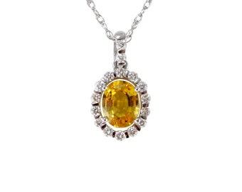 Sun Burst Yellow Sapphire & Diamond Pendant