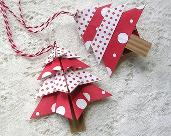 Red Polka Dot Christmas Tags - Origami Christmas Ornaments Handmade - Origami Christmas Tree Set of 4 - Holiday Tags - Package Decorations