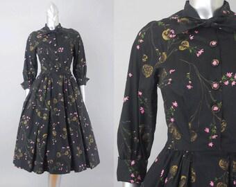 Guinevere Pettigrew novelty print dress | 1940s floral dress | vintage 40s dress