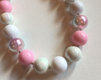 Pink Bubblegum Necklace - Chunky Necklace - Little Girl Bubble gum Pretty in Pink Pearl Bracelet Girl Baby Adult Sizes