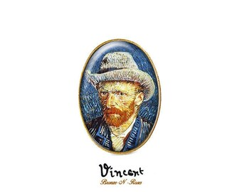Ring * Vincent Van Gogh * bronze portrait painting Midnight Blue cabochon
