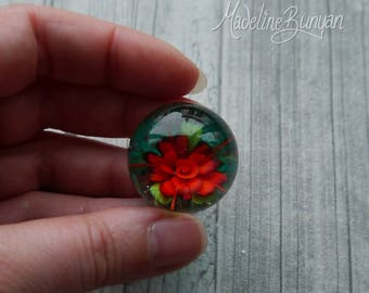 Everlasting Red Rose Marble, Teal Green, unusual gift, collectible glass art, sphere, lampwork, flower, implosion