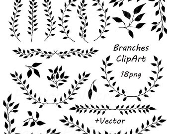 Digital Branches ClipArt, Laurel Wreath, Digital Wreath, Laurel Clipart, Black Wreath Laurel, Wreaths Frames, Personal and Commercial Use