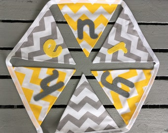 Yellow, Grey and White Chevron Personalised Bunting-Name Bunting-Name Banner