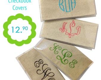 Burlap Checkbook Cover - Monogrammed Checkbook - Personalized Checkbook Cover - Purse Accessories - Preppy Accessories - Gift for Her