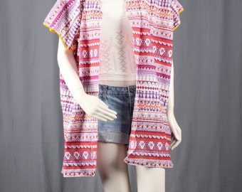Kimono Jacket Duster Coat Pink White Gypsy Boho Bohemian women size L large