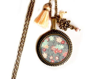 Asian necklace sakura pastel blue and pink - Japanese bronze collection set