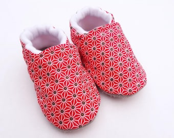 Sole leather baby shoes and Red cotton top