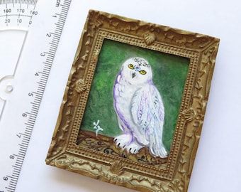 "Miniature Original Acrylic Painting ""White Owl Ommm"" with Gold Frame, Art Collection, Dollhouse Miniature, Bird Painting, Tiny Painting"