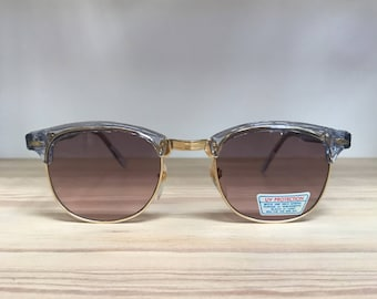 Clear pink blue clubmaster style vintage sunglasses