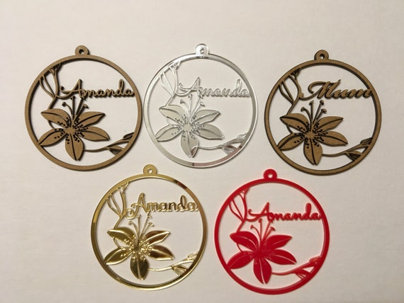 Personalised laser cut ornament Present gift tags Name bauble Custom wooden flowers Gold Acrylic Monogram Hanging ornament Personalized gift