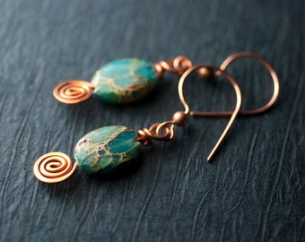 "Green Blue Aqua Terra Jasper Copper Spiral Dangle Earrings by Mossandmist - ""Aqua Terra"""