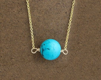 Genuine Turquoise Bead Necklace, Turquoise Bead on Gold Plated Silver Chain, Layering Necklace, Layered Jewelry, Turquoise Necklace