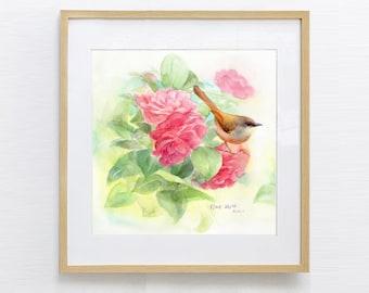 Watercolor Bird, Watercolor Painting, Bird Painting, Watercolor Print, Watercolor flower, Original Watercolor Painting Print,