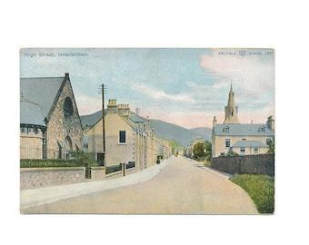 color Scottish postcard of High Street, Innerleithen, Scotland,  1923