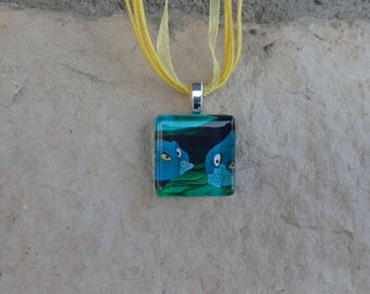 Disney Animals Collection Flotsam and Jetsam from Disney's Little Mermaid Glass Pendant and Ribbon Necklace