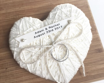 Ivory Wedding Ring Bearer Pillow -new 2017 design- reuse as Christmas ornament- choose ivory lace, ribbon, string-durable custom name tag