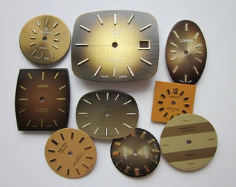 9 Vintage Watch Faces, 'Cowgirl' Mix, Brown, Beige, Copper and Gold, Mixed Shapes and Sizes
