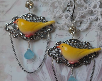 Vintage carved yellow bird canary with blue chalcedony drops