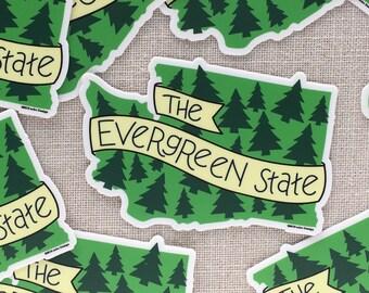 The Evergreen State Vinyl Sticker / Modern Illustrated Washington State Sticker / Washington Bumper Sticker / Hand Lettered / Cool Sticker