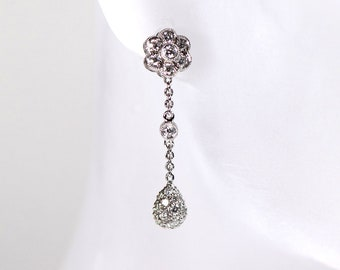 Diamond Drop 18k White Gold Dangle Earrings