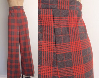 1970's Red & Grey Polyester High Waisted Trousers Size Large XL by Maeberry Vintage