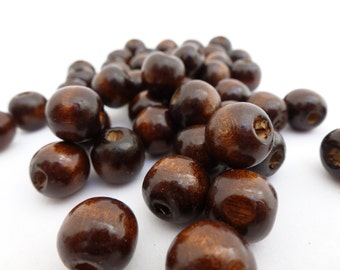 50 x Dark Brown Wooden Beads 12mm Wood beads