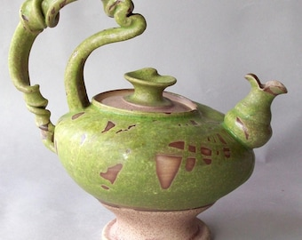Green Curly Teapot