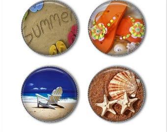 Beach magnets or beach pins, summer, seashell, flip flops, ocean, refrigerator magnets, fridge magnets, office magnets