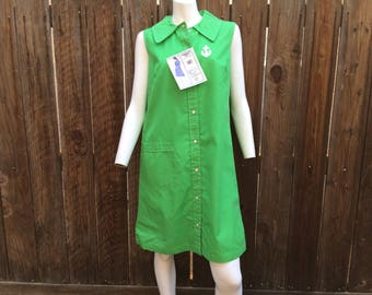 Vintage NOS Deadstock Tags 60's Shift Dress Mod Green Novelty Anchor Scooter M L