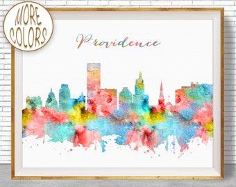 Providence Print Providence Art Providence Skyline Office Decor City Skyline Prints Skyline Art  ArtPrintZone Christmas GiftsGift for Women