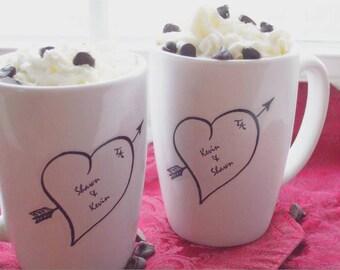 Holiday Gift, Valentine Couples Gift, Personalized Mug Sweetheart Personalized Gift, Wedding, Anniversary Gift, Heart Mugs (set of 2)