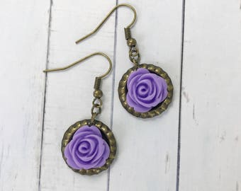 Antique Gold Purple Rose Bottle Cap Dangle Earrings // Best Friend Gift Idea // Romantic Boho Style