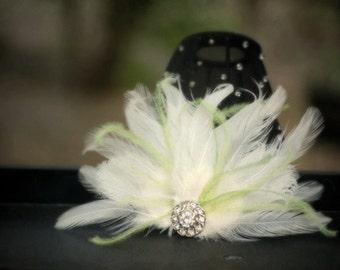 Ivory & Lime Green Fan Fascinator Hair Comb / Clip. Classy Spring, Stylish Wedding Statement, Bridal Bride Bridesmaid Couture, Vanilla Cream