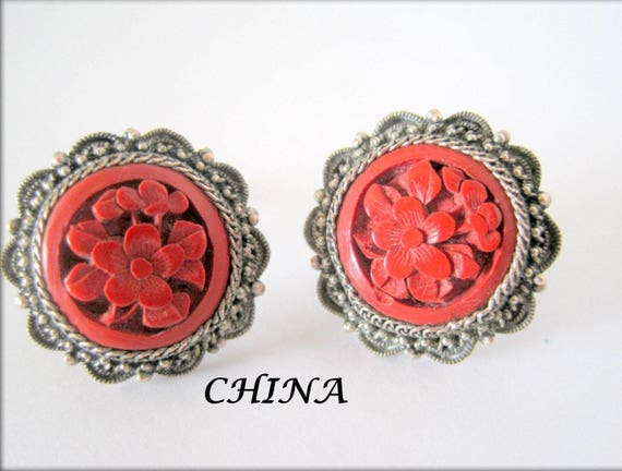 China Silver Earrings, Carved Cinnabar, Art Deco Chinese Export, Screw Back