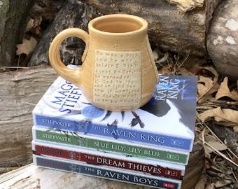 Golden Yellow Mug- The Raven King-Maggie Stiefvater- Gansey- Pottery Handmade by Daisy Friesen
