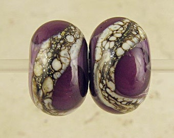 Handmade Purple Glass Lampwork Bead Pair Small Webbed Silvered Ivory 11x7mm Violet