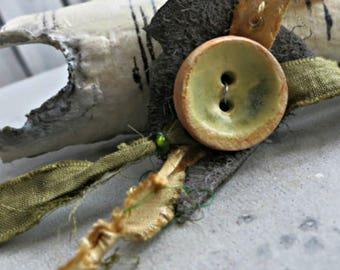 Artisan Button - Ceramic Glazed Button - OOAK Button - Yellow Green Round Button - Dryad