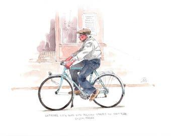 "Print from original watercolor and pen urban sketch, ""LaPierre City Bike in Dijon"" by Mark Alan Anderson."
