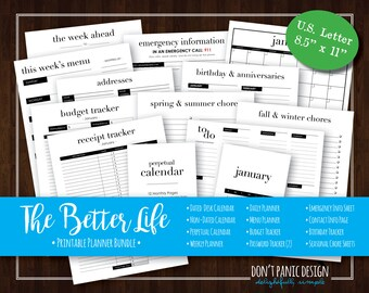 The Better Life Bundle - Simple Modern Printable Organizing Bundle - Printable Planner Pages, Printable Calendar - Instant Download