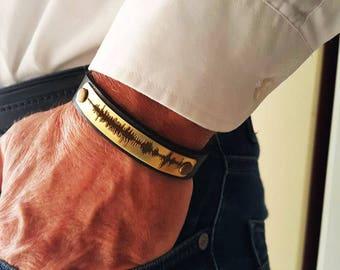 FAST SHIPPING / Personalized Bracelet / Laser Engraving / Sound Wave Bracelet / Christmas Gifts / Custom Bracelet / Gold brass Plate /