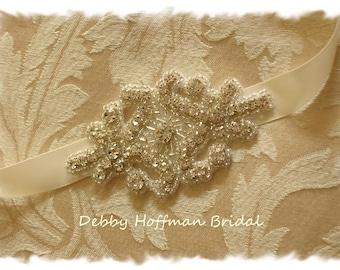 Rhinestone Bridal Headpiece, Crystal Wedding Headband, Jeweled Bridal Hair Comb, Wedding Head Piece, Bridal Ribbon Headband,  No. 1166HB