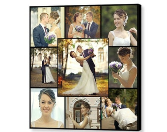 Custom Wedding Photo Collage - 16x16 Giclée Print on Canvas - Collage Using 9 of Your Favorite Wedding Photos - Custom Gift - Made in USA