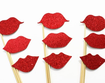 GLITTER Lips Photo Booth Props 9 Piece Set - Wedding Photobooth Props - Party Favor - Birthday