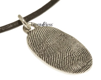 Sterling Silver Custom Thumbprint necklace  or Fingerprint necklace