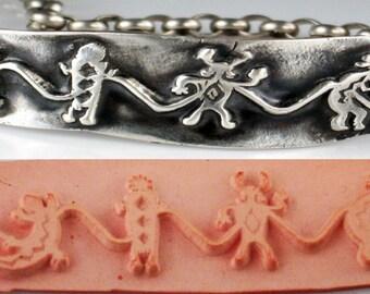 Design-Stempel für Polymer, PMC, Keramik, Textilien, Scrapbooking - Südwest Petroglyph Krieger