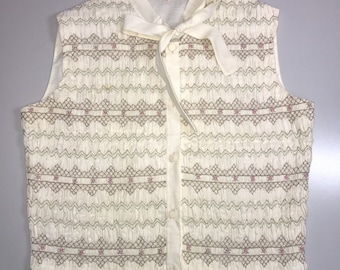 Vintage cream embroidered vest with bow